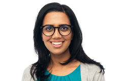 Happy smiling young indian woman in glasses Stock Photos