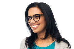 Happy smiling young indian woman in glasses Royalty Free Stock Photography