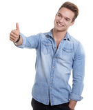 Happy smiling young man looking at camera with satisfaction isol Royalty Free Stock Photography