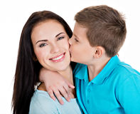 Happy smiling young mother with son Royalty Free Stock Photo