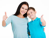 Happy smiling young mother with son Royalty Free Stock Photography