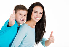 Happy smiling young mother with son Royalty Free Stock Photos