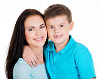 Happy smiling young mother with son Stock Image