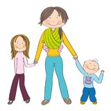 Happy and smiling young mother with three children Royalty Free Stock Images