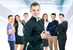 Happy smiling young people portrait stock image
