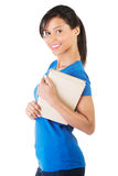 Happy smiling young student woman with book Royalty Free Stock Photography
