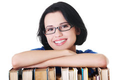 Happy smiling young student woman with books Royalty Free Stock Images