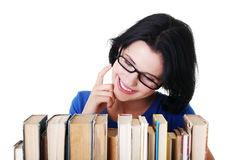 Happy smiling young student woman with books Stock Photography
