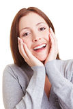 Happy smiling young woman Stock Photos