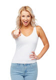 Happy smiling young woman with blonde hair royalty free stock photography