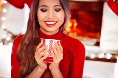Happy smiling young woman with cap warming by fireplace over hol Stock Images