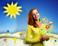 Happy smiling young woman on cartoon background. Smiling happy young woman with bouquet of flowers on sunny cartoon background Royalty Free Stock Image