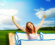 Happy smiling young woman on cartoon background. Nice morning of smiling young pretty woman on sunny cartoon background Stock Images
