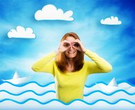 Happy smiling young woman on cartoon background. Smiling young woman on sea cartoon background is looking through hands Royalty Free Stock Photos