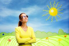 Happy smiling young woman on cartoon background Royalty Free Stock Photo