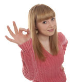 Woman with okay gesture Stock Photo
