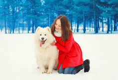 Happy smiling young woman owner with white Samoyed dog on snow in winter Stock Photography