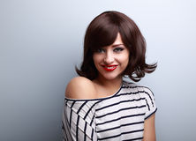 Happy smiling young woman with short black hair style Stock Images