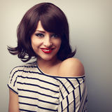 Happy smiling young woman with short black hair style. Closeup v Royalty Free Stock Photo
