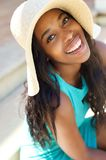 Happy smiling young woman with sun hat Royalty Free Stock Photos