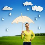 Happy smiling young woman with umbrella Royalty Free Stock Images
