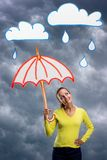 Happy smiling young woman with umbrella Stock Photography