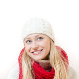 happy smiling young woman wearing knitted Royalty Free Stock Photography