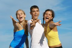 Happy smiling youth. Teen group of happy smiling youth Stock Photography