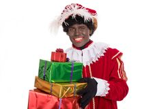 Zwarte Piet or Black Pete with gifts  portrait, Sinterklaas even Royalty Free Stock Photo