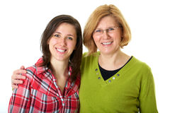 Happy and smilling daughter with mother, isolated Royalty Free Stock Image