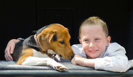 Happy smilling little girl and beagle puppy royalty free stock images