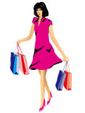 Happy smilling woman with shopping bags. Vector illustration of a beautiful young woman with a sweet smile and feeling happy wearing a sexy short dress and Stock Images