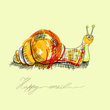 Happy snail. Universal template for greeting card, web page, background Stock Image