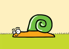 Happy snail. Illustration of a smiling snail which has a green shell.   file .ai8 Stock Photography