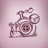 Happy snail. Authors illustration in vector Stock Images