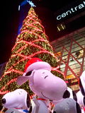 Happy Snoopy. Snoopy under the largest X'mas tree in Thailand in front of Centralworld department store Stock Photos