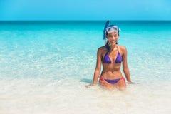 Free Happy Snorkel Girl Having Fun In Ocean Water Snorkeling On Caribbean Vacation In Idyllic Clean Water Beach. Watersport Royalty Free Stock Photo - 195021435