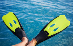 Happy snorkeling flippers Stock Image
