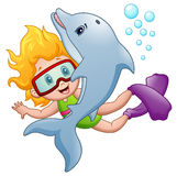 Happy snorkeling girl with a dolphin. Illustration of Happy snorkeling girl with a dolphin Stock Image