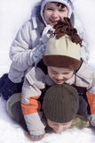 Happy on snow. Play on snow Royalty Free Stock Image