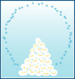 Happy Snow Ball. A template for varieties of Christmas themed projects, invitation or greeting cards, decorated with snowball stacking and depicting tree, each stock illustration
