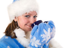 Happy Snow Maiden with cup Stock Images