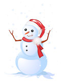 Happy snow man. Image shows a smiling snow man, isolated and grouped objects over white Stock Photos