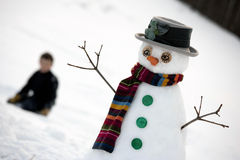 Happy snow man Stock Image