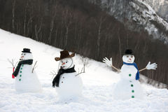 Happy snow man Stock Photos