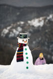 Happy snow man Royalty Free Stock Image