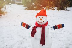 Happy snow man in the garden or backyard. Winter outdoor activities for kids royalty free stock image