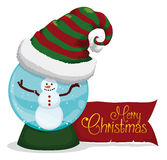 Happy Snow Man Inside Crystal Ball with Merry-Xmas Message, Vector Illustration royalty free stock photos