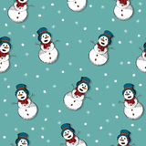 Happy snow man pattern Stock Images