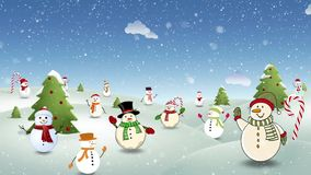 Happy Snow People Background Loop. This video features a variety of happy snow people waving and bouncing with moving clouds and falling snow in a loop with room stock video